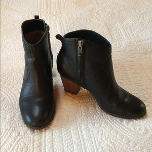 Black Leather Ankle Boots Size 8